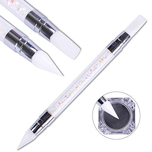 Artlalic Double Way Rhinestone Nail Art Brush Pen Silicone Head Carving Dotting Tool