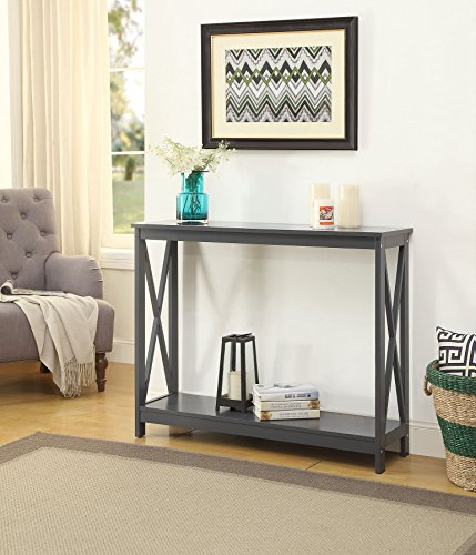 Grey Finish 3-Tier X-Design Occasional Console Sofa Table Bookshelf (Sofa Table Book Shelf)