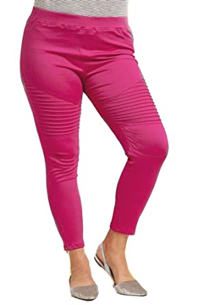 bc80e3c09a42db Umgee Plus Size Washed Moto Ankle Length Jeggings Pintuck Zipper Detail at  Amazon Women's Clothing store: