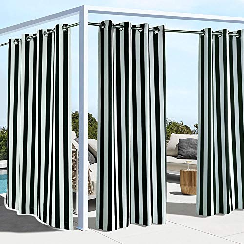 "Outdoor Decor Coastal Stripe Cabana Panel, Black (50"" Wide by 96"" Long)"