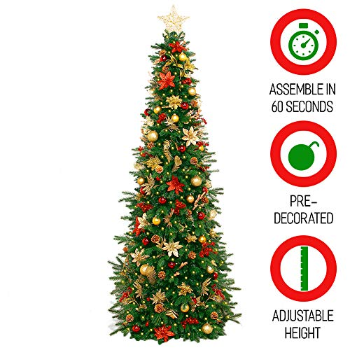 Easy Treezy Prelit Christmas Tree, Easy Setup & Storage in 60 Seconds, 5.5ft Realistic Natural Douglas Fir Pre-Lit Artificial Tree with LED Lights, Pre-Decorated Holiday Decor (Historic) MSRP $299 ()