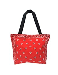 Owm Handbags Cotton Large Red Printed Pattern Paisley Tote Bag with Zipper