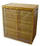 Open Slats Bamboo Hamper Plus Lid w/ Removable Canvas Liner (Dual Sort)