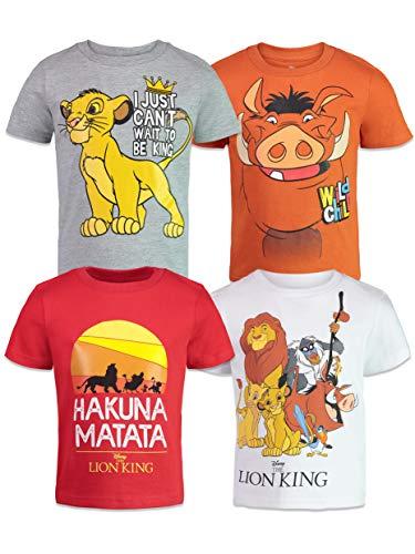 Disney Lion King Toddler Boys 4 Pack T-Shirts Simba Timon Pumbaa Zazu Nala 3T