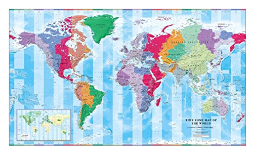 (Time Zone Wall Map of The World - Large - 56.25