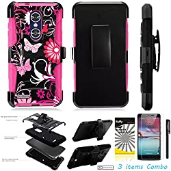For ZTE MAX XL N9560 /3Items [Clear LCD Film]+Stylus Pen+[Impact Resistance] Dual Layer [Belt Clip] Holster Combo [KickStand] Phone Case Pink Butterfly Flower - Pink