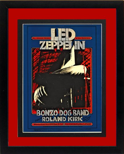 Led Zeppelin Framed and Double Mated Concert Poster Highest Quality Red