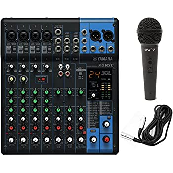 yamaha mg10xu 10 input stereo mixer usb w dynamic microphone and cable black. Black Bedroom Furniture Sets. Home Design Ideas