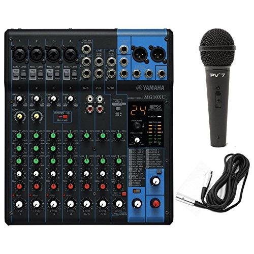Yamaha MG10XU 10 Input Stereo Mixer USB w/ Dynamic Microphone and Cable, Black (Yamaha Consoles Mixing)