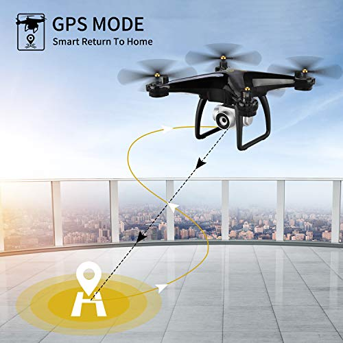JJRC H68G GPS Return Home Drone Drone with 720P HD Camera Live Video 120° Wide-Angle 5G WiFi RC Drone Quadcopter with 980ft Control Distances, Follow Me, Altitude Hold Headless Mode Helicopter (Black) by JJRC (Image #1)