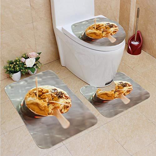 3 Sets of Bathroom Home, Bathroom Carpet + Contour pad + lid Toilet seat,Mocha and Rum Raisin ice Cream, Flannel Carpet