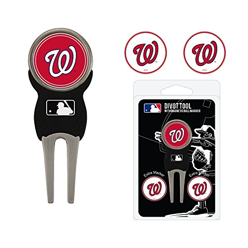 Team Golf MLB Washington Nationals Divot Tool with 3 Golf Ball Markers Pack, Markers are Removable Magnetic Double-Sided Enamel]()
