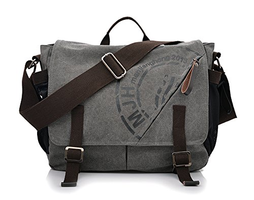 Ecokaki(TM) Vintage Printed Canvas Shoulder Bag Teenager School Students Messenger Bag Laptop Crossbody Bags Satchel Handbags, Grey