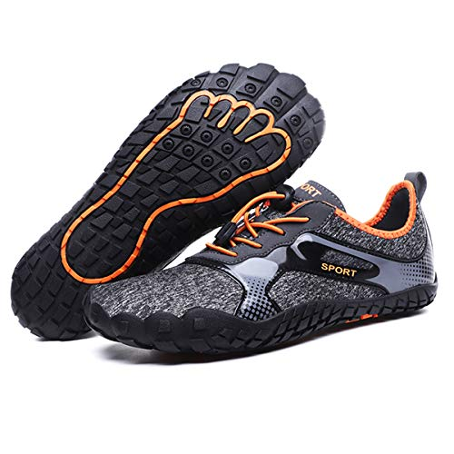 Aliwendy Men's Minimalist Trail Barefoot Shoes Quick Dry Wide Toe Box Fishing Beach Hiking Water Shoes(Orange 48) (Water Shoes 15)