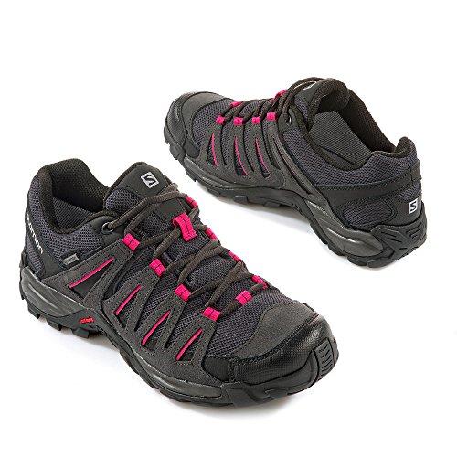 Salomon L38139900, Zapatillas de Senderismo Mujer Gris (Asphalt /         Black /         Hot Pink)