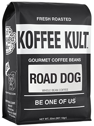 "Dark Roast, Whole Bean Colombian Coffee - Koffee Kult's Award-Winning ""Road Dog"" Blend - 32 oz Full Body Arabica Coffee Beans - Rich, Sweet, Cocoa Finish - Fresh Roasted and Hand-Crafted by Artisans"
