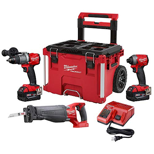 Milwaukee 2997-23PO M18 FUEL 18-Volt Lithium-Ion Brushless Cordless Combo Kit (3-Tool) with Two 5.0 Ah Battery and PACKOUT Rolling Tool Box