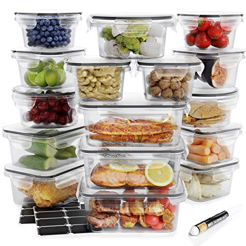Food Storage Containers Set - Airtight Plastic Containers with Easy Snap Lids (16 Pack) - Leak Proof Kitchen & Pantry Containers - BPA-Free - 16 Chalkboard Labels & Marker - Chef's Path (Airtight Container 12 Oz)
