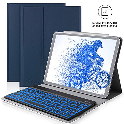 iPad Pro 11 Inch Keyboard Case for iPad Pro 11 2018, iPad Pro 2018 Leather Tablet Case, Wireless Bluetooth Keyboard, Ultra Thin PU Leather Flip Stand Tablet Protector, Auto Wake/Sleep, Blue
