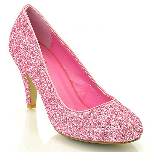 Glitter Pink Heels Shoes (ESSEX GLAM Womens Mid Low Heel Party Pink Sparkly Glitter Court Shoes 7 B(M) US)