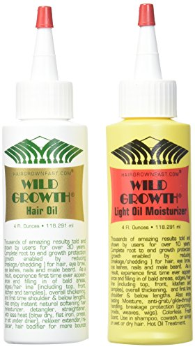 Slow Hair Growth (Wild Growth Set (Hair Oil 4 oz + Light Oil Moisturizer 4 oz))