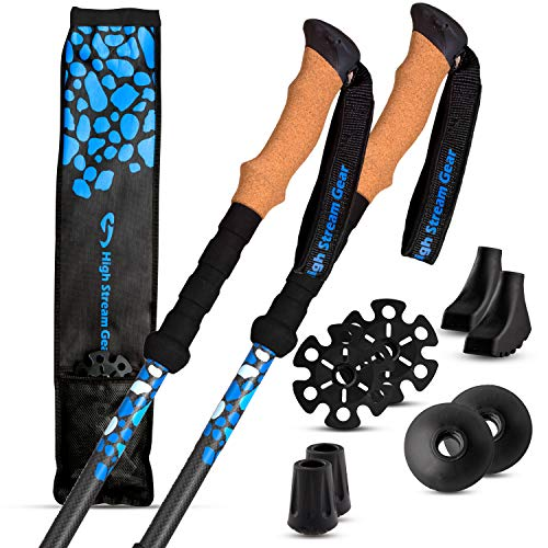 (High Stream Gear Trekking Poles Made of Carbon Fiber, Real Cork Grip Handles Designed by Professional Walkers and Hikers - Ultra-Lightweight - Telescopic Compact, Hiking Poles)
