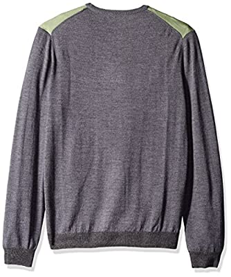 Calvin Klein Men's Merino Pop Stripe Crew Neck Sweater
