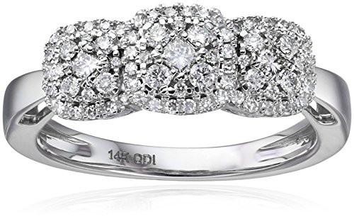 IGI Certified 14k White Gold Diamond 3 Galaxy Clusters Engagement Ring (1/2cttw, H-I Color, I1-I2 Clarity), Size (Diamond Cluster)