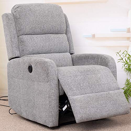 Irene House Chenille Fabric Power Recliner Chair with USB Port (Grey)