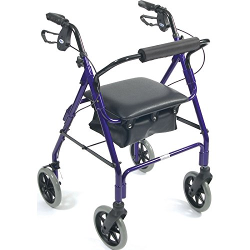 Days Lightweight Aluminum Rollator, Adjustable Rolling Walker with Seat for Elderly, Disabled, Limited Mobility Patients, Walking Stabilizer with Four Wheels, 364 lb. Weight -