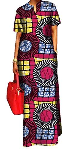 Africano Vestito Domple Delle Della Festa Dashiki Maxi 3 Lungo Della Tasche Stampa Donne x4OnIAwxq