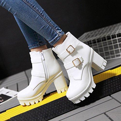 Summerwhisper Round Toe Trendy Zipper Short Women's Heel Strap High Block Boots White Side Platform Buckle fTxrfCwq
