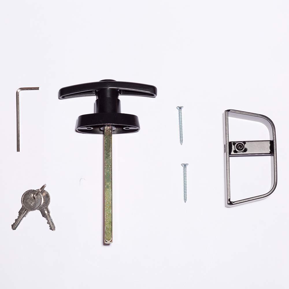 T-Handle Lock Shed Door Lock with 2 Keys and 2 Screws, 4-1/2'' Stem Barn Playhouse & Chicken Coop Door Lock