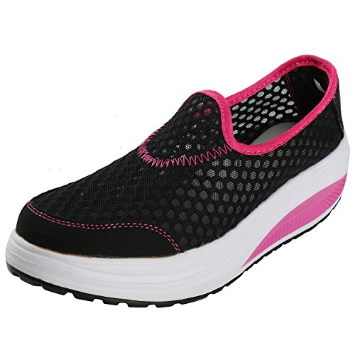 Alexis Leroy Active Slip On Mesh Platform Sneakers Fitness Sport Zapatos Para Caminar Negro