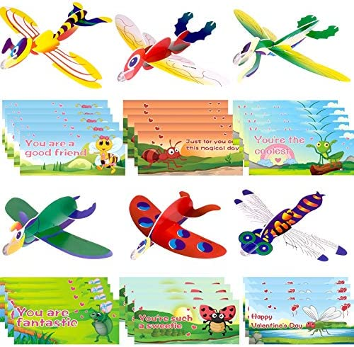 MAOYUE 30 Pack Valentines Cards for Kids Valentines Gifts Valentines Class Gifts with Foam Airplanes Valentines Exchange Cards for Classroom, Valentines Airplanes Cards for Kids