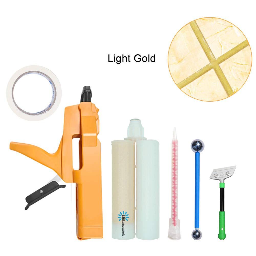 Grout Repair Tube Light Gold 13.5 Fl. Oz, Waterproof and Mold Resistant Tile Grout Lines Filler for Tiles in Shower Room, Kitchen, Floor, Wall.etc. by LEDLampsWorld (Image #1)