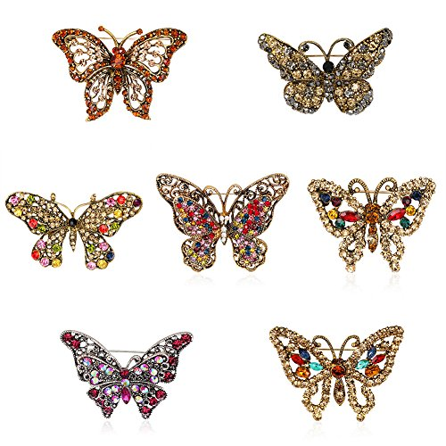 SANWOOD 7Pcs Fashion Multicolor Rhinestone Butterfly Brooch broaches Pin breastpin Scarf Jewelry Gift