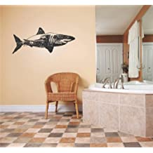 Top Selling Decals - Prices Reduced : Shark Great White Tiger Blue Mako Water Ocean Fish Animal Boy Girl Children Kids Playroom Daycare Classroom Mammal Reptile Living Room Bedroom Kitchen Home Decor Picture Art Image Graphic Mural Design Decoration - Size : 10 Inches X 30 Inches - Vinyl Wall Sticker - 22 Colors Available