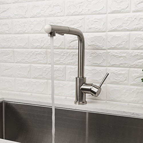 LORDEAR Bar Sink Faucet,Modern Style Stainless Steel 2 Water Function Setting Single Handle Pull Out with Sprayer Wet Bar Brushed Nickel Kitchen Faucet, Pull Down Kitchen Sink Faucet by Lordear (Image #1)