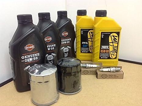 Kit de material de mantenimiento - Aceite de Motor Original, Aceite Primario, Aceite de Transmisión, 2 bujías, Filtro para Moto Harley Davidson Dyna / FXD ...