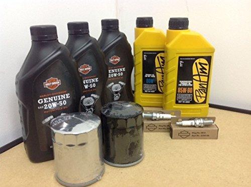 Kit de material de mantenimiento - Aceite de Motor Original, Aceite Primario, Aceite de Transmisió n, 2 bují as, Filtro para Moto Harley Davidson Dyna / FXD / Street / Fat Bob / Wide / Super Glide / SwitchBack / Touring / Road King / El