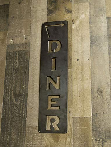 Diner Vertical Sign, Arrow Metal Sign, Left or Right Facing, Kitchen Decor, Cooking, Farmhouse, Cook Gift, Kitchen Wall Art (Diner Arrow)