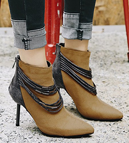 Aisun Dames Strappy Metalen Kettingen Geribbelde Zip-up Puntschoen Enkellaarzen Stiletto Hoge Hak Booties Bruin
