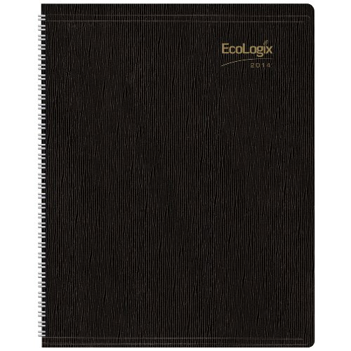 Brownline 2014 EcoLogix Monthly Planner, 14 Months (December 2013 - January 2015), Twin-Wire, Black, 11 x 8.5 Inches, 100% Post-Consumer Recycled Paper (CB435W.BLK-14)