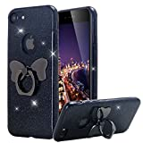 iPhone 8 Case, iPhone 7 Case, Lontect Glitter Sparkle Bling Shock Absorbing Flex TPU Rubber Case Cover with Ring Grip Holder Kickstand for Apple iPhone 8 iPhone 7 - Black