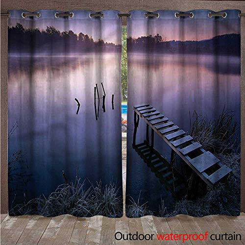BlountDecor Seascape Outdoor Curtain Panel for Patio Misty Lake Pier Forest W120 x L84 (Lighted Right Pier)