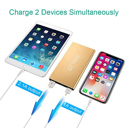 GETIHU 10000 mAh lightweight electric power Bank along with 2 USB Ports mobile phone Charger External Battery Backup super sleek Thin Powerbank for iPhone X 8 7 6s 6 Plus 5s 5 Samsung Cell mobile phone iPadGold Battery Packs