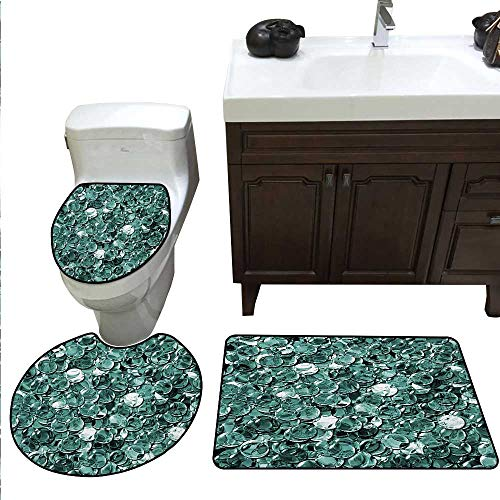 - Anshesix Pearls Bath Toilet mat Set Crystal Clear Balls Coins Pattern Never Ending Liquid Objects Monochrome Design Print Bathroom and Toilet mat Set Teal