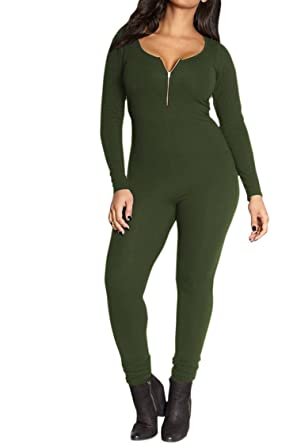 Fixmatti Women One Piece Plain Low Neck Long Sleeve Bodycon Basic Underwear  Jumpsuit Green S 2cb2d95ea
