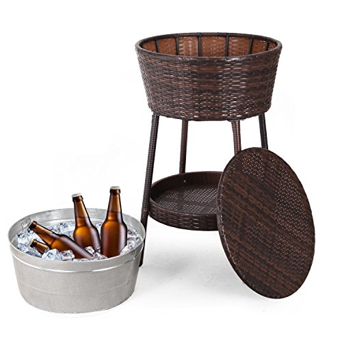 Tin Ice Buckets - Adeco Outdoor Patio Furniture Set Summer wicker ice bucket for Patio Space